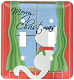 3dRose lsp_164794_2  Merry Christmas Cute White Cat in Snowy Window Double Toggle Switch