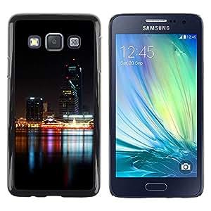 Be Good Phone Accessory // Dura Cáscara cubierta Protectora Caso Carcasa Funda de Protección para Samsung Galaxy A3 SM-A300 // Night Time Modern City River