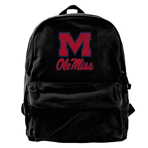 (Ole Miss Rebels Man And Women Large Vintage Canvas Backpack School Laptop Bag Hiking Travel Rucksack)