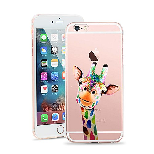 iPhone 6 Case, iPhone 6s Case, Cute Novelty Animal Pattern Print Soft TPU Silicone Protective Skin Ultra Slim Clear Unique Design Gift Bumper Back Cover For iPhone 6 6S 4.7 Inch [Cute Giraffe]