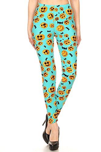 (Women's Plus Pumpkins & Bats Pattern Printed Leggings - Halloween)