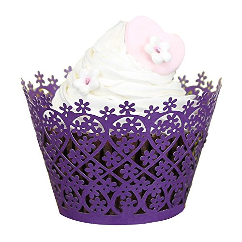 Tiean 50pcs Through Flowers Lace Laser Cut Cupcake Wrapper Liner Baking Cup Muffin (Purple)