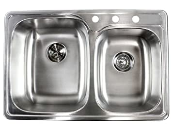 33 inch top mount drop in stainless steel double bowl kitchen sink - Bowl Kitchen Sink