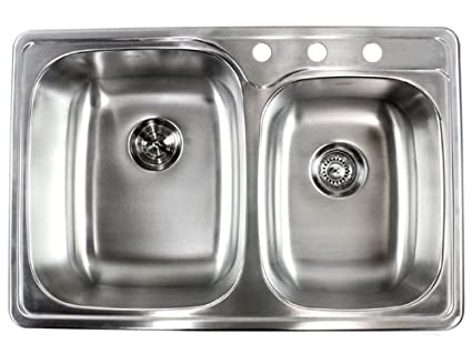 33 Inch Top Mount Drop In Stainless Steel Double Bowl Kitchen Sink 18 Gauge