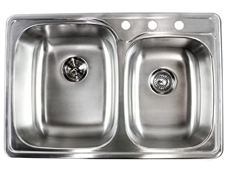 33 Inch Top-mount / Drop-in Stainless Steel Double Bowl Kitchen Sink - 18  Gauge