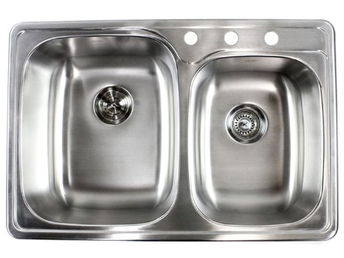 33 Inch Top-mount / Drop-in Stainless Steel Double Bowl Kitchen Sink - 18 Gauge (Sink Bowl Double)