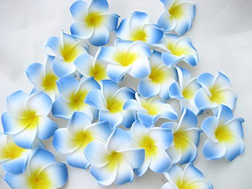 JKLcom Hawaiian FlowerArtificial Hawaiian Flower Hawaiian Flower PetalsFor Wedding Party Decoration(100 Pcs)-Blue