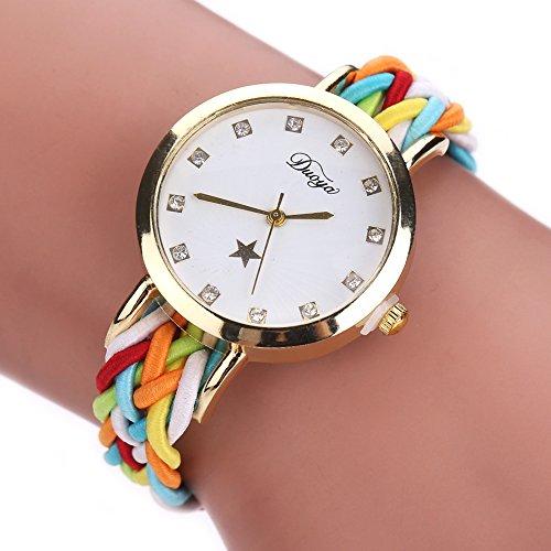 W-life Womens Casual Rhinestone Crystal Braided Bracelet Quartz Analog Wrap Wrist Watch (C)