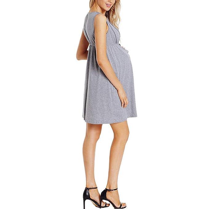 GUCIStyle Camisón Lactancia Pijama Embarazada Algodón Ropa para Dormir Premamá Sin Mangas Hospital Invierno Verano: Amazon.es: Ropa y accesorios
