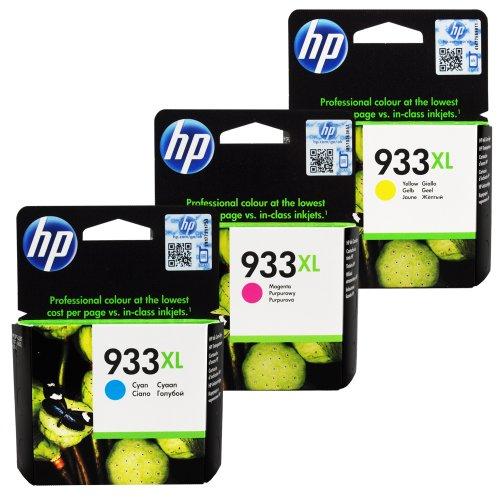 HP 933XL High Yield Officejet Ink Cartridges (Cyan / Magenta / Yellow) (CR316BN) (Hp Printer Ink Cartridges 933)