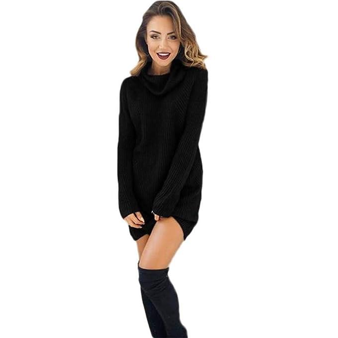 Women Sweater,Mujeres Casual Manga Larga Jersey de Cuello Alto Chaqueta Blusa Mini Vestido suéteres