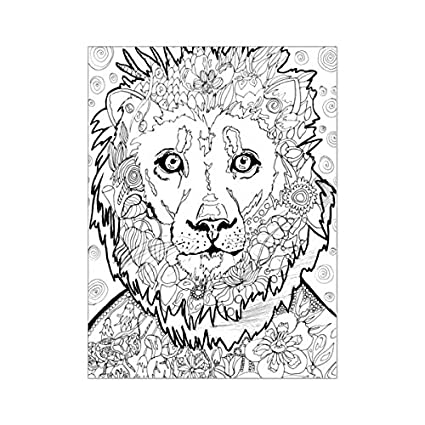 Amazon.com: Lion Coloring Page Poster 18x24 Adult Coloring: Posters ...