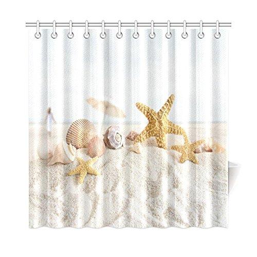InterestPrint Sea Shells and Starfish Decor Shower Curtai...