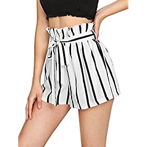 Casual Elastic Waist Striped Shorts