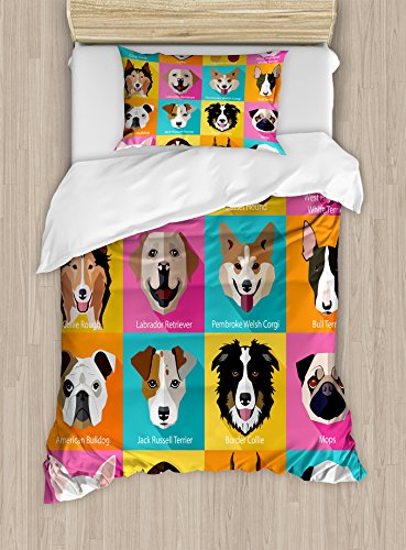 Ambesonne Animals Duvet Cover Set Twin Size, Pattern with Dogs in Retro Pop Art Style Bulldog Hound Cartoon Animals Design, Decorative 2 Piece Bedding Set with 1 Pillow Sham, Pink Blue Yellow by Ambesonne