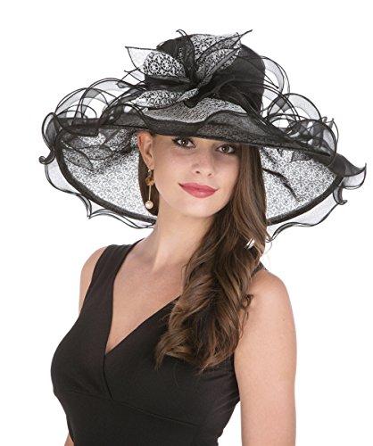SAFERIN Women's Organza Church Derby Fascinator Bridal Cap British Tea Party Wedding Hat (GZ-Black Lace) by SAFERIN