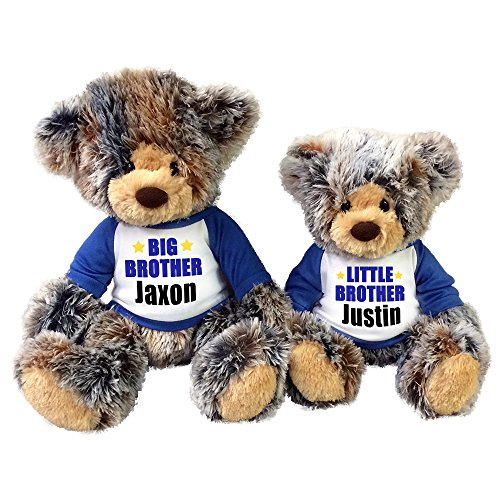 Personalized Big Brother / Little Brother Teddy Bears - Set of 2 Brindle (Moon Teddy Bear)