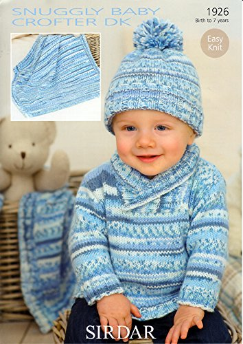 Sweater, Hat and Blanket in Sirdar Snuggly Baby Crofter DK (1926) Knitting Pattern