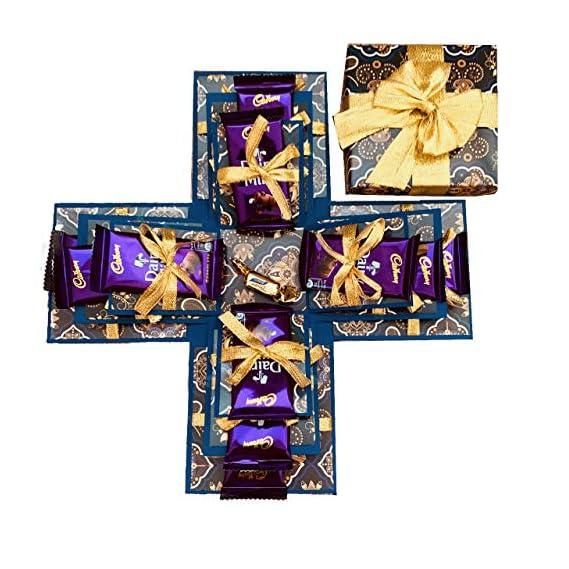 Crack of Dawn Crafts 3 Layered Card Chocolate Box - Badhiya Blue for Diwali Dussehra Durga Puja Contains Chocolates