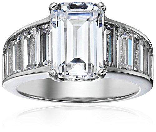 Platinum-Plated Sterling Silver Celebrity Angelina Ring made with Cubic Zirconia, Size 7