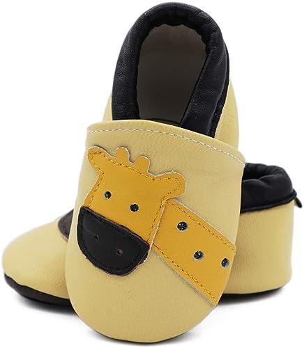 Chaussons B/éb/é en cuir doux Girafe 0//6 mois
