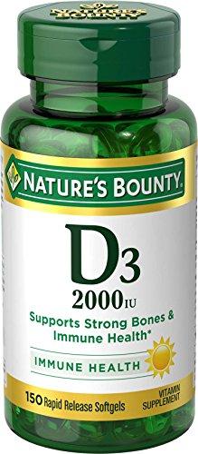 Nature's Bounty Vitamin D3 2000 IU Twin Packs, 150 Count Each, Total 300 Softgels
