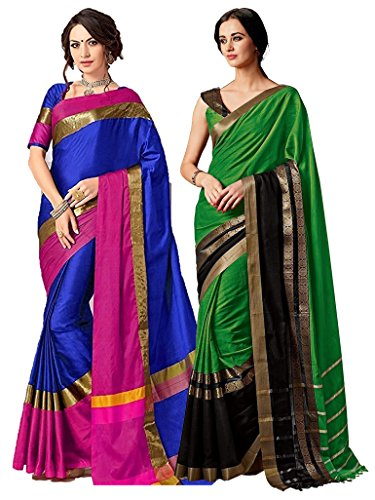 (ELINA FASHION Pack of Two Sarees for Indian Women Cotton Art Silk Printed Weaving Border Saree (Multi 3))
