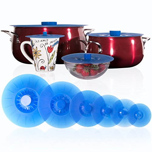 "Silicone Lids Extra Large Blue Set of 6 Sturdy Suction Seal Covers. Universal fit for Pots, Fry Pans, Cups and Bowls 5"" to 12"". Natural grip handles that interlock for easy use and storage. Food Safe."