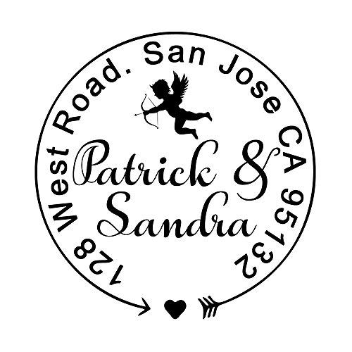 Wedding Stamper Cupid Love Arrow Design Monogram Personalized Self Inking Rubber Address Stamp