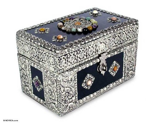 NOVICA Repousse Brass Jewelry Box, Metallic 'Treasure Chest' by NOVICA (Image #3)