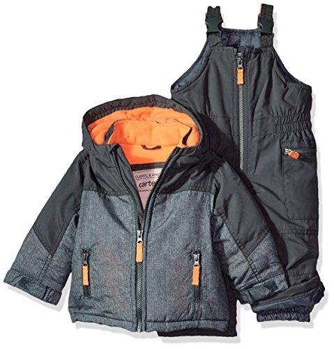 Carter's Baby Boys Heavyweight 2-Piece Skisuit Snowsuit, Timberwolf/Wildfire Neon, 12M