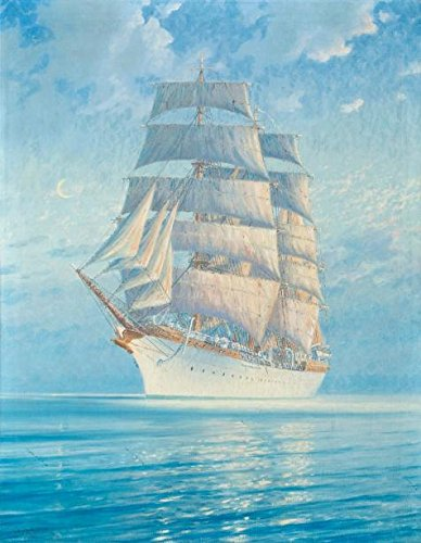 The Perfect Effect Canvas Of Oil Painting 'a Sailing Boat On The Blue Ocean' ,size: 30x39 Inch / 76x98 Cm ,this High Definition Art Decorative Prints On Canvas Is Fit For Kitchen Artwork And Home Artwork And Gifts