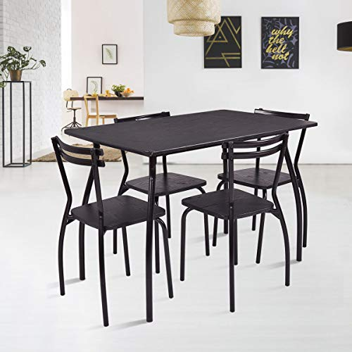 ANA Store Black Wood Metal Dinner Console Set of 5 Piece Modern Meal Bar Counter 4 Backrest Stool Cookhouse Cuisine Stand Ottoman