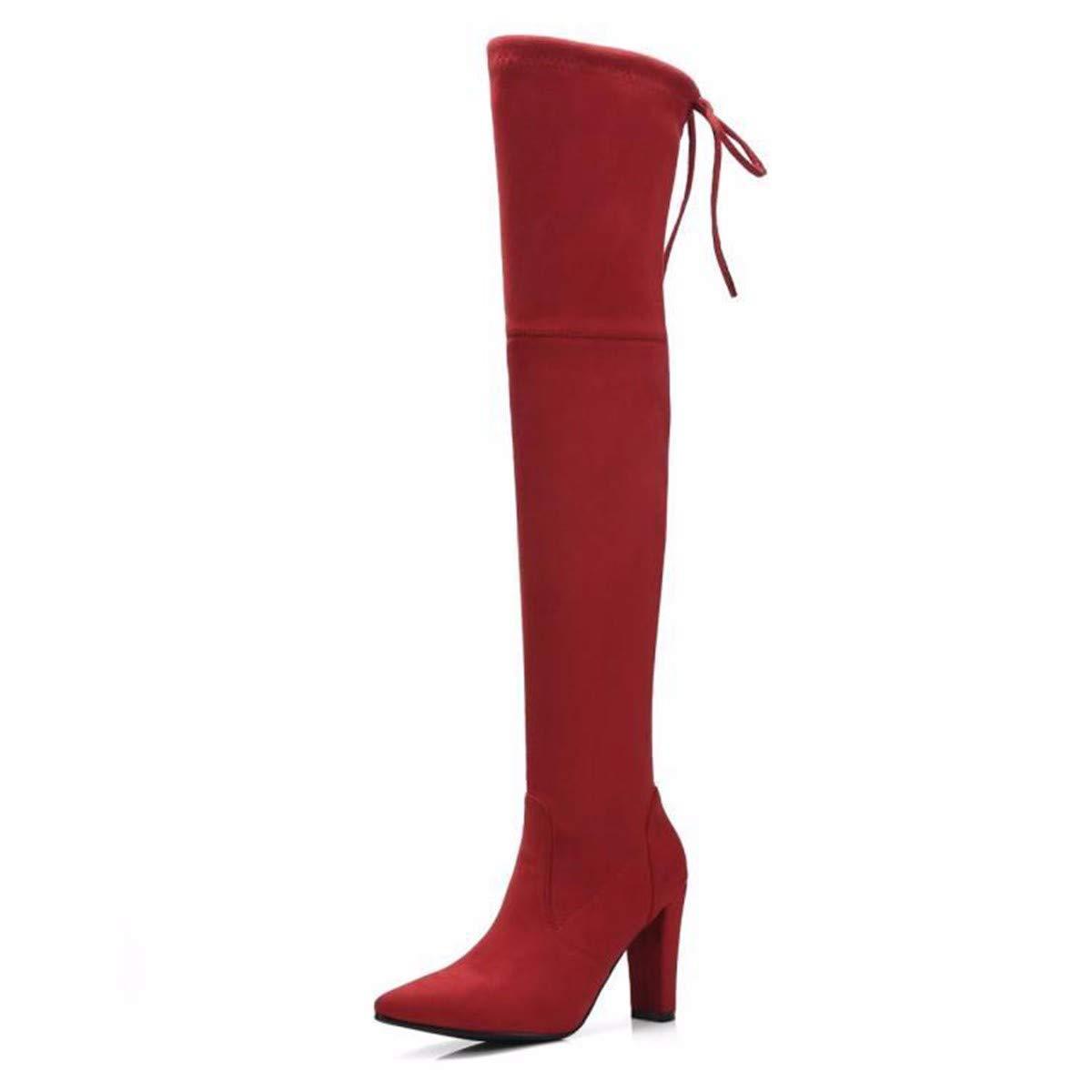 KPHY Damenschuhe Im Herbst und Winter Dick und Knie Stiefel 10 cm High Heels Elastische Stiefel High Flush Stiefel.39 des