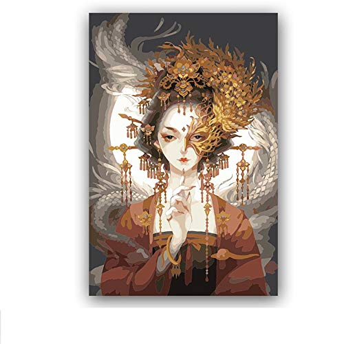Paintyty DIY Painting by Numbers Figure Ancient Chinese Goddess Dragon and Phoenix Pictures Paint by Numbers with Kits Tools for Adults -