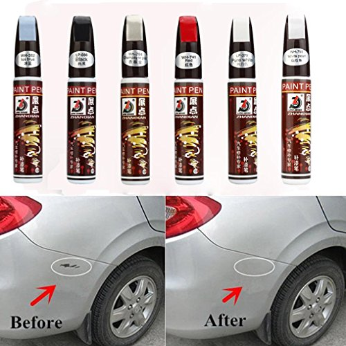 (Ecosin Car Scratches Repair Pen Clear Repair Remover Tool Colorful Auto Car Coat Paint Pen Touch Up Scratch Repair Pen (White))