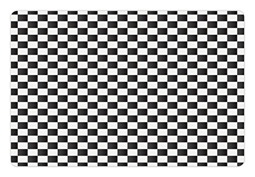 Ambesonne Checkered Pet Mat for Food and Water, Monochrome C