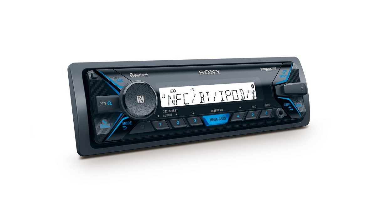 USB and Aux input Sony DSX-M55BT Mechless Marine Stereo with Bluetooth