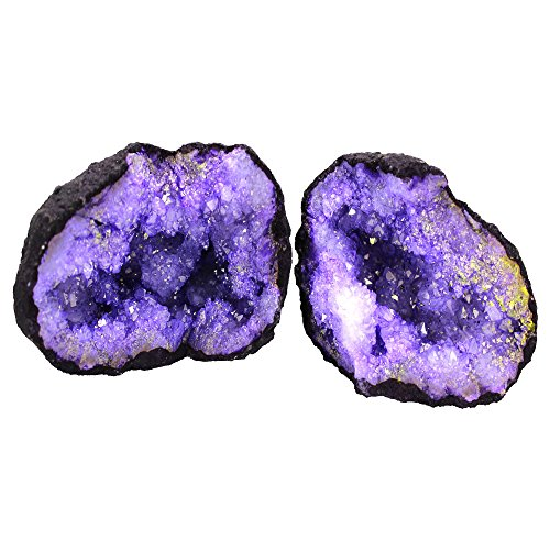 1 (ONE) Break Your Own Geode - Color Dyed Druzy Geodes - Gorgeous Display Piece Rock Paradise Exclusive COA (Purple) Purple Geode