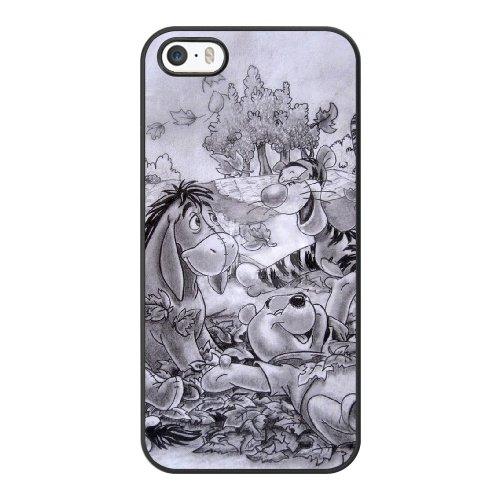 Coque,Coque iphone 5 5S SE Case Coque, Cute Winnie The Pooh Cover For Coque iphone 5 5S SE Cell Phone Case Cover Noir