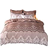 YOMIMAX Coffee Bedding Neoclassical Style and Luxury Duvet Cover with Zipper(Twin,Coffee)