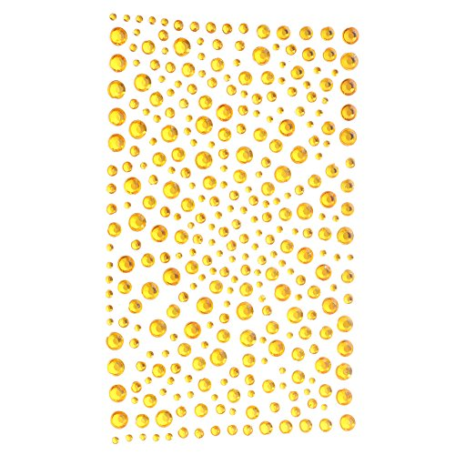 Decora 325 Yellow Diamante Stick on Rhinestone Stickers Gems Cards and Self Adhesive Craft Bling ()