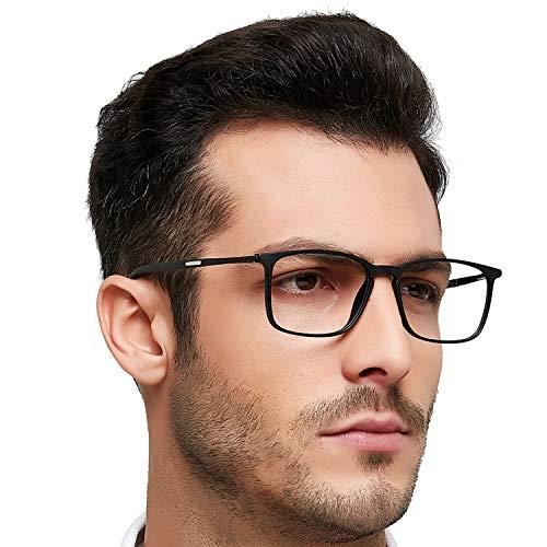 OCCI CHIARI Optical Eyewear Non-prescription Fashion Glasses Eyeglasses Frame with Clear Lenses Eyewear for Men Black+Gray