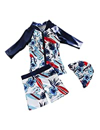 ACMEDE Child Swimsuit 3Pcs Floral Printed with Zipper Anti UV Blue Baby Boys Swimwear