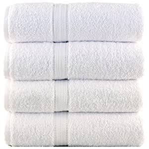 Bergamo, Luxury Hotel / Spa Bath Towel, 100 Percent Genuine Turkish Cotton, Set of 4, 700 Gsm, White