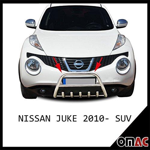 Protección Frontal plancha frontal de planchar de acero inoxidable para Nissan Juke 2010 de SUV 60 mm: Amazon.es: Coche y moto