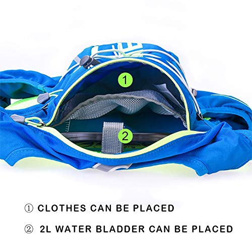 POJNGSN 10L Running Hydration Vest Men Women Bicycle Outdoor Sport Bags Jogging Cycling Hiking Backpack blue-350-2L by POJNGSN (Image #7)