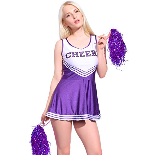 Anladia - Disfraz de Animadora Cheerleader para Adulta Mujer Mini Vestido sin Mangas con Letras ¨Cheers¨ Color Morado Talla 36 38 40 42 44 (XL (44))
