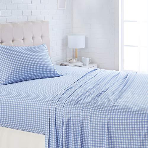 "AmazonBasics Lightweight Super Soft Easy Care Microfiber Bed Sheet Set with 16"" Deep Pockets - Full, Light Blue Gingham"