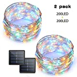 Binval Solar String Lights, 72ft 200Led, Copper Wire Led String Lights Ambiance lighting for Patio, Lawn, Garden, Landscape, Home, Wedding, Christmas Party, Xmas Tree, Waterproof (Multi Color,2-Pack)